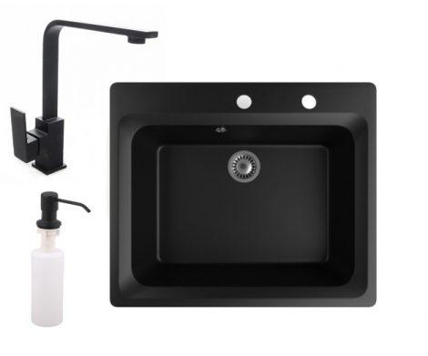 Gránit mosogató NERO Italia + Design csaptelep + adagoló (matt fekete)