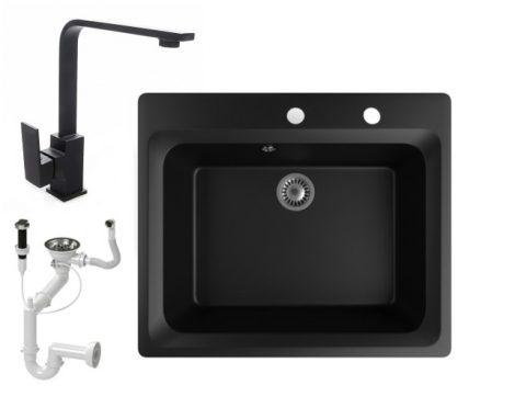 Gránit mosogató NERO Italia + Design csaptelep + dugóemelő (matt fekete)