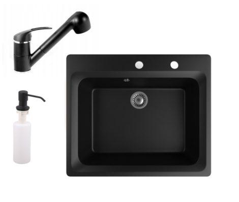 Gránit mosogató NERO Italia + kihúzható Shower csaptelep + adagoló (matt fekete)