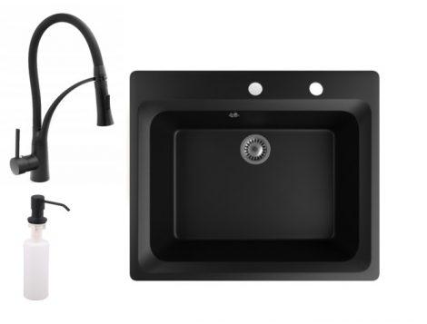 Gránit mosogató NERO Italia + Duo-Flex csaptelep + adagoló (matt fekete)