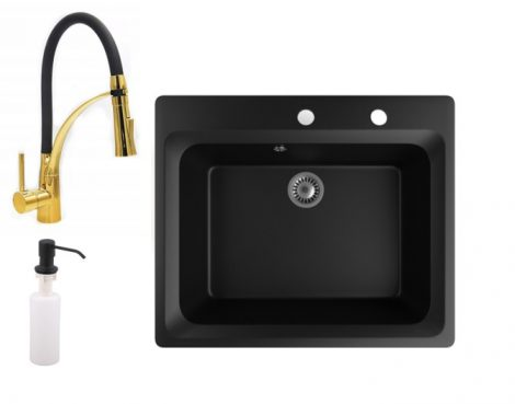Gránit mosogató NERO Italia + Duo-Flex Gold csaptelep + adagoló (matt fekete)