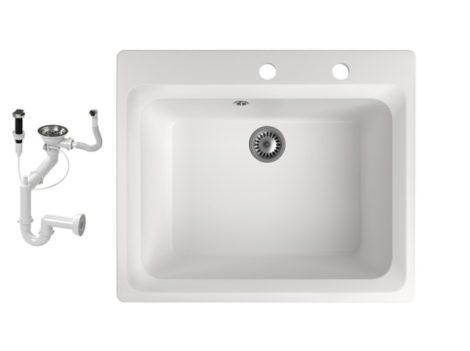 Gránit mosogató NERO Italia + automata dugókiemelő + szifon (fehér)