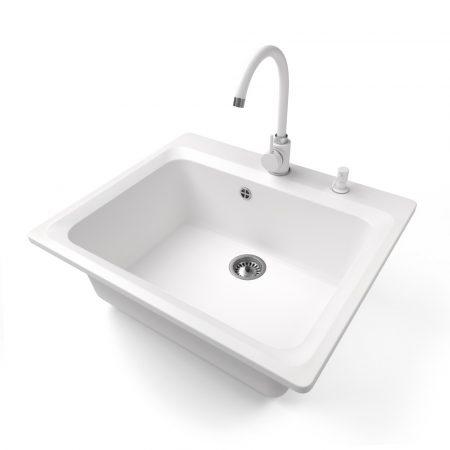 Gránit mosogató NERO Italia + magasított csaptelep + adagoló (fehér)