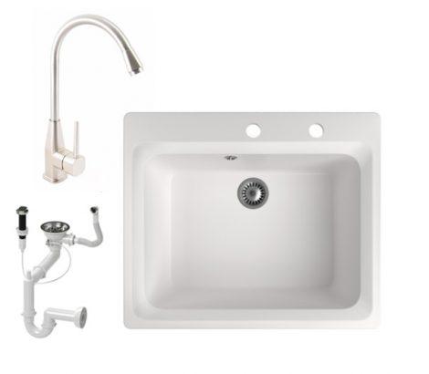 Gránit mosogató NERO Italia + Inox Line-3 csaptelep + dugóemelő (fehér)