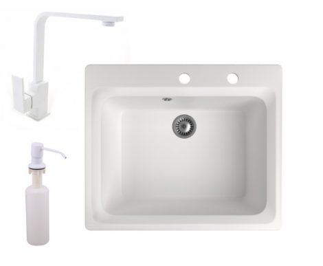 Gránit mosogató NERO Italia + Design csaptelep + adagoló (fehér)