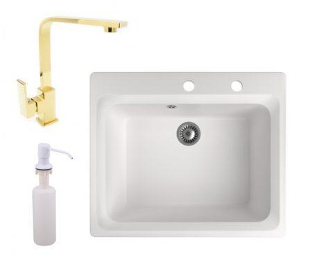Gránit mosogató NERO Italia + Design Gold csaptelep + adagoló (fehér)