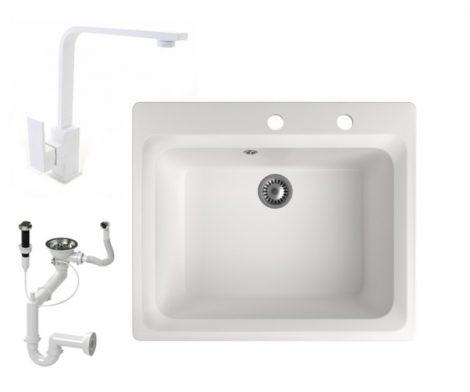 Gránit mosogató NERO Italia + Design csaptelep + dugóemelő (fehér)