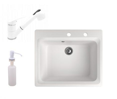 Gránit mosogató NERO Italia + kihúzható Shower csaptelep + adagoló (fehér)