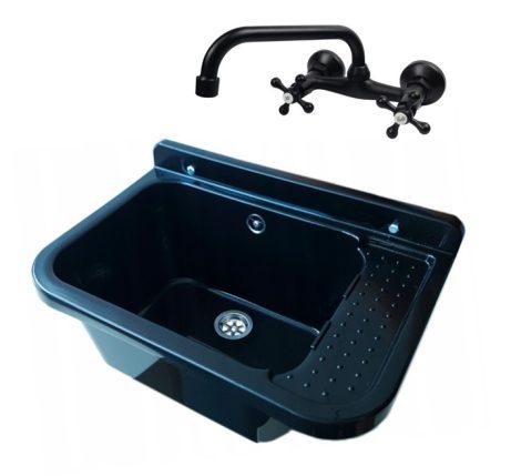 Gamma falikút - háztartási mosogató + A2C Retro fali csaptelep + szifon (fekete)