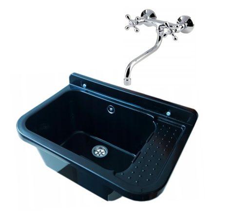 Gamma falikút - háztartási mosogató + A3 Retro fali csaptelep + szifon (fekete)