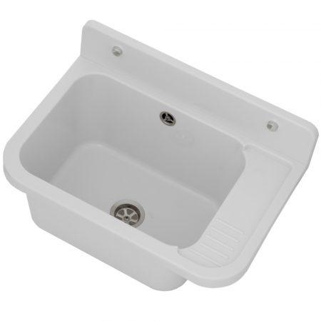 Gamma falikút - háztartási mosogató + szifon (fehér)