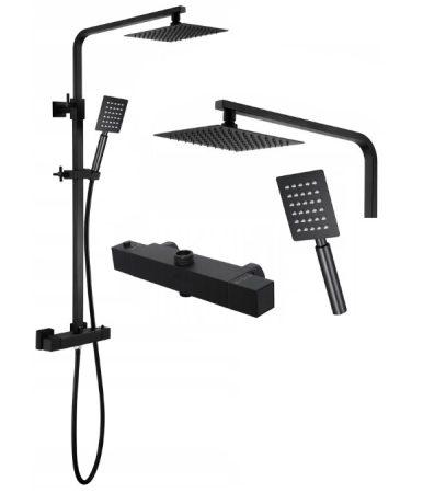 Slim Square Black Zuhanyrendszer Termosztátos Zuhany Csapteleppel - Matt Fekete
