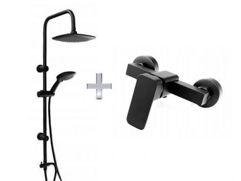 Gamma ZN1-C zuhanyrendszer + Quadrant zuhany csaptelep - fekete